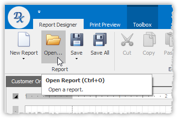 Open Report Layout