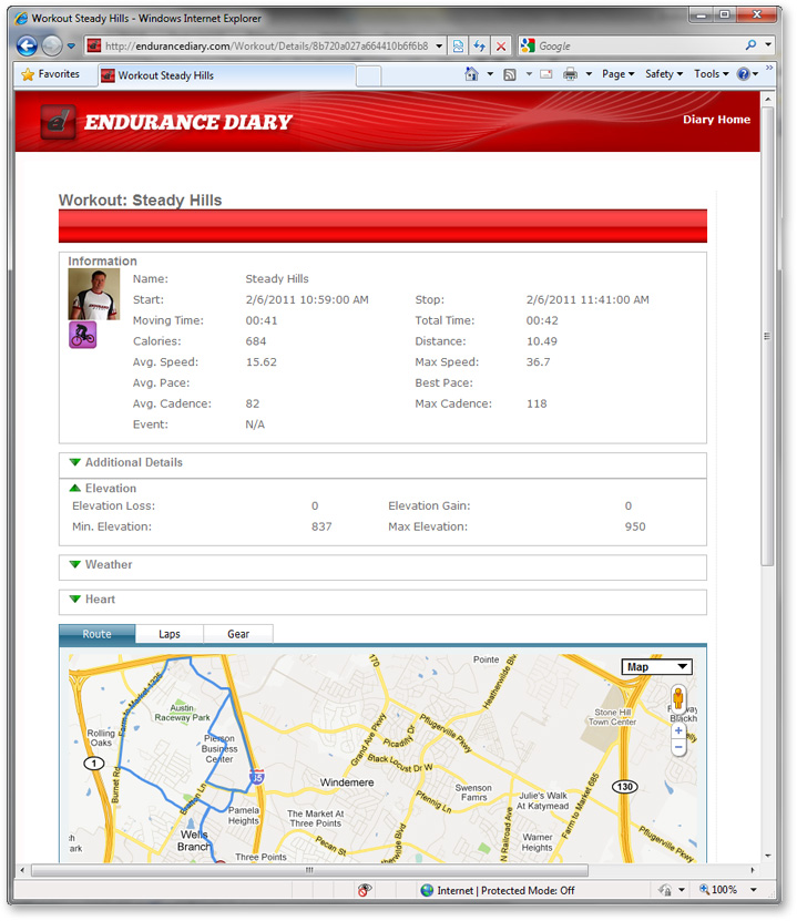 Endurance Diary Workout Details Screenshot: DevExpress Case Study