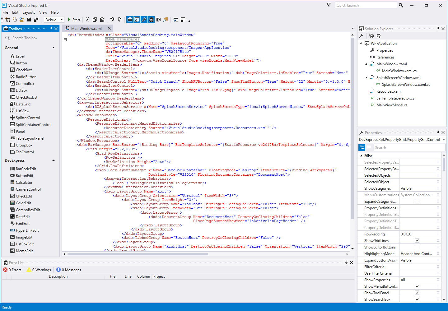 Docking UX inspired by Visual Studio