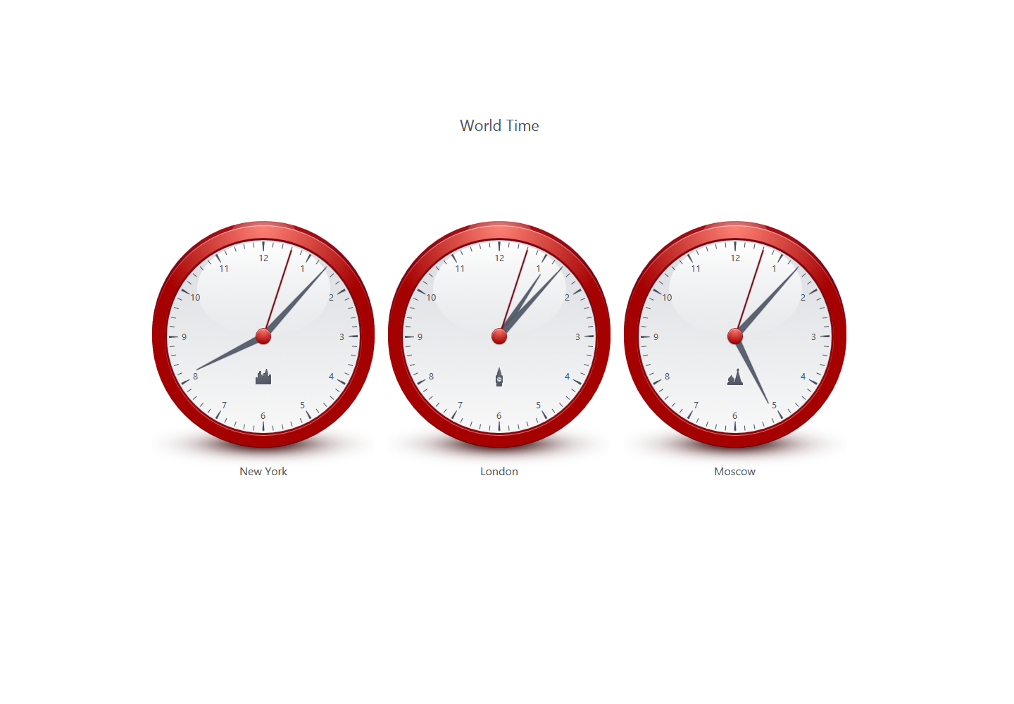 WPF Circular Gauges - World Time