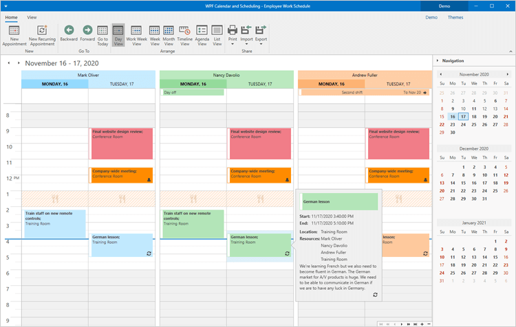 Calendar Day View - WPF Scheduler Control | DevExpress
