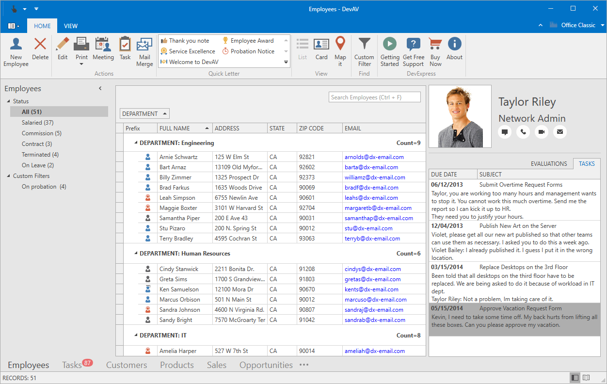 WPF Controls in an Outlook Inspired Desktop Application
