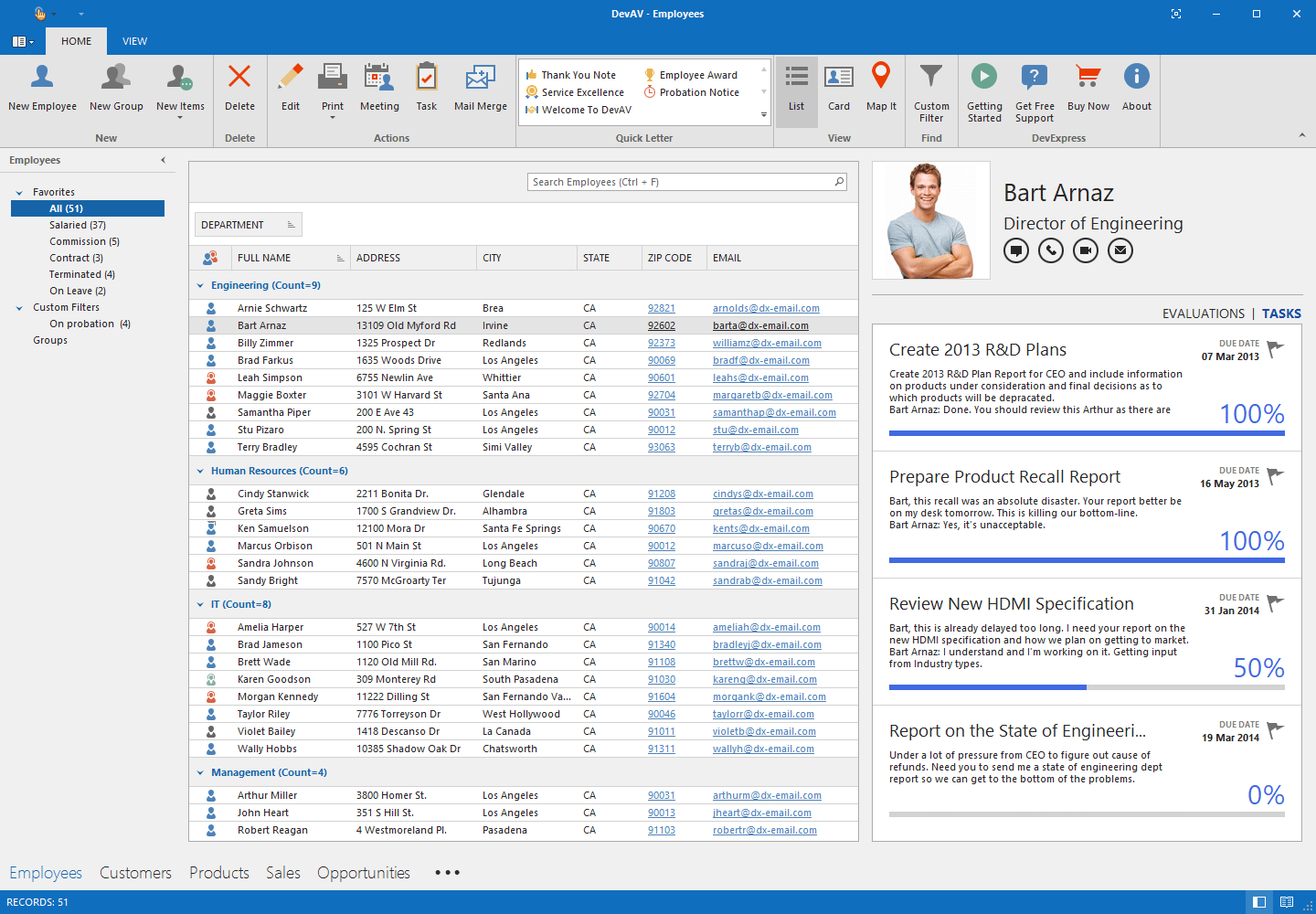 Outlook-inspired App with DevExpress WinForms Grid