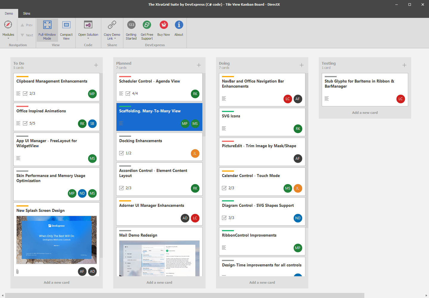 Kanban Board - Tile View, WinForms Data Grid | DevExpress