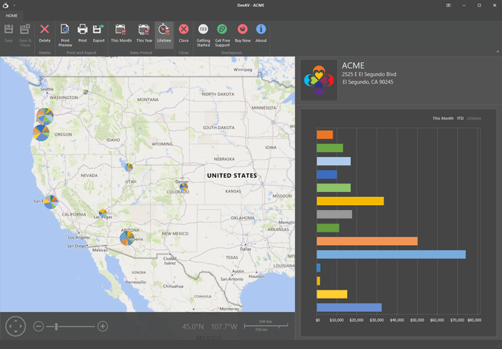 Sales Map - Office Inspired Application, WinForms Map Control | DevExpress