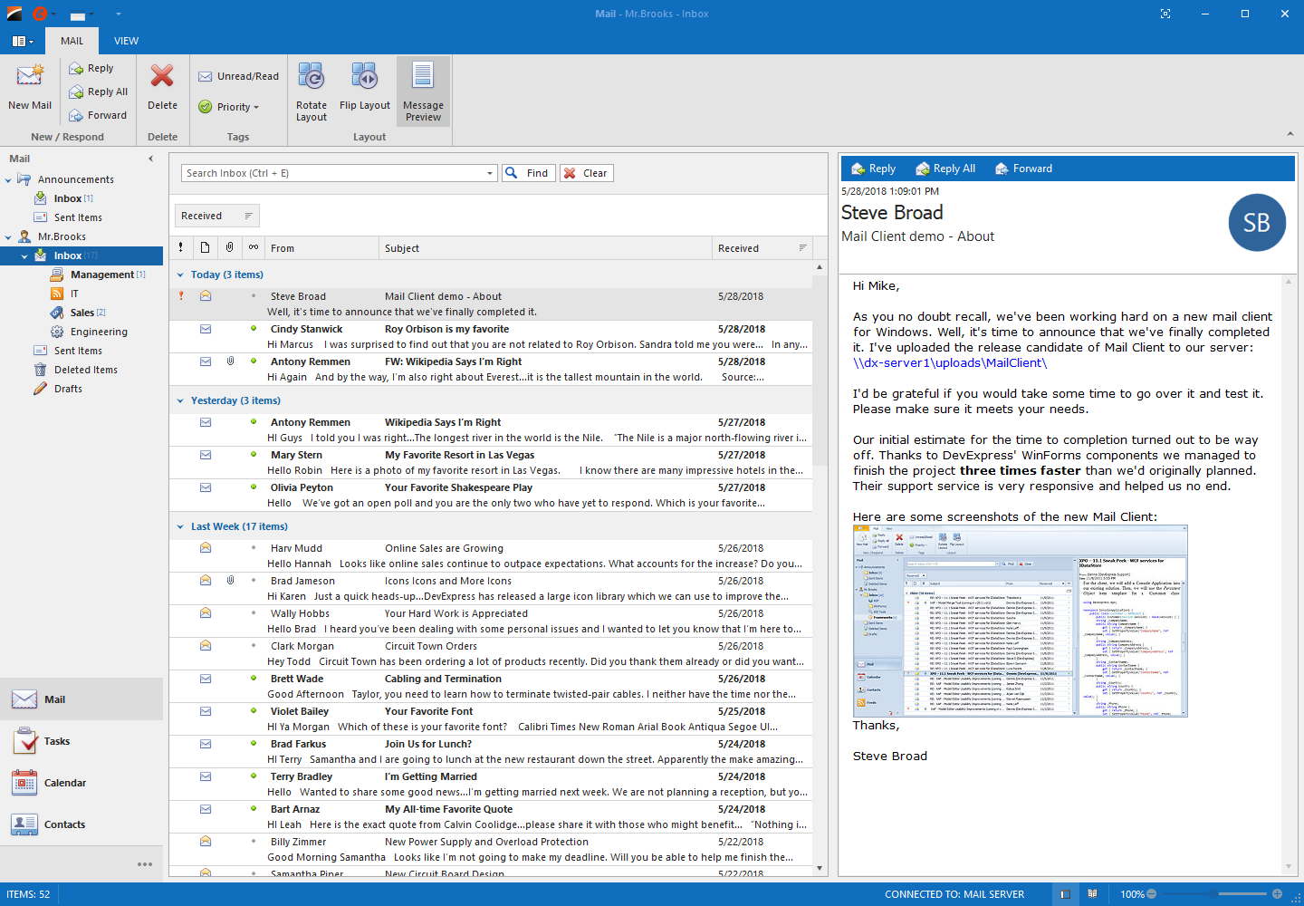 Navigation Pane in Mail Client Application