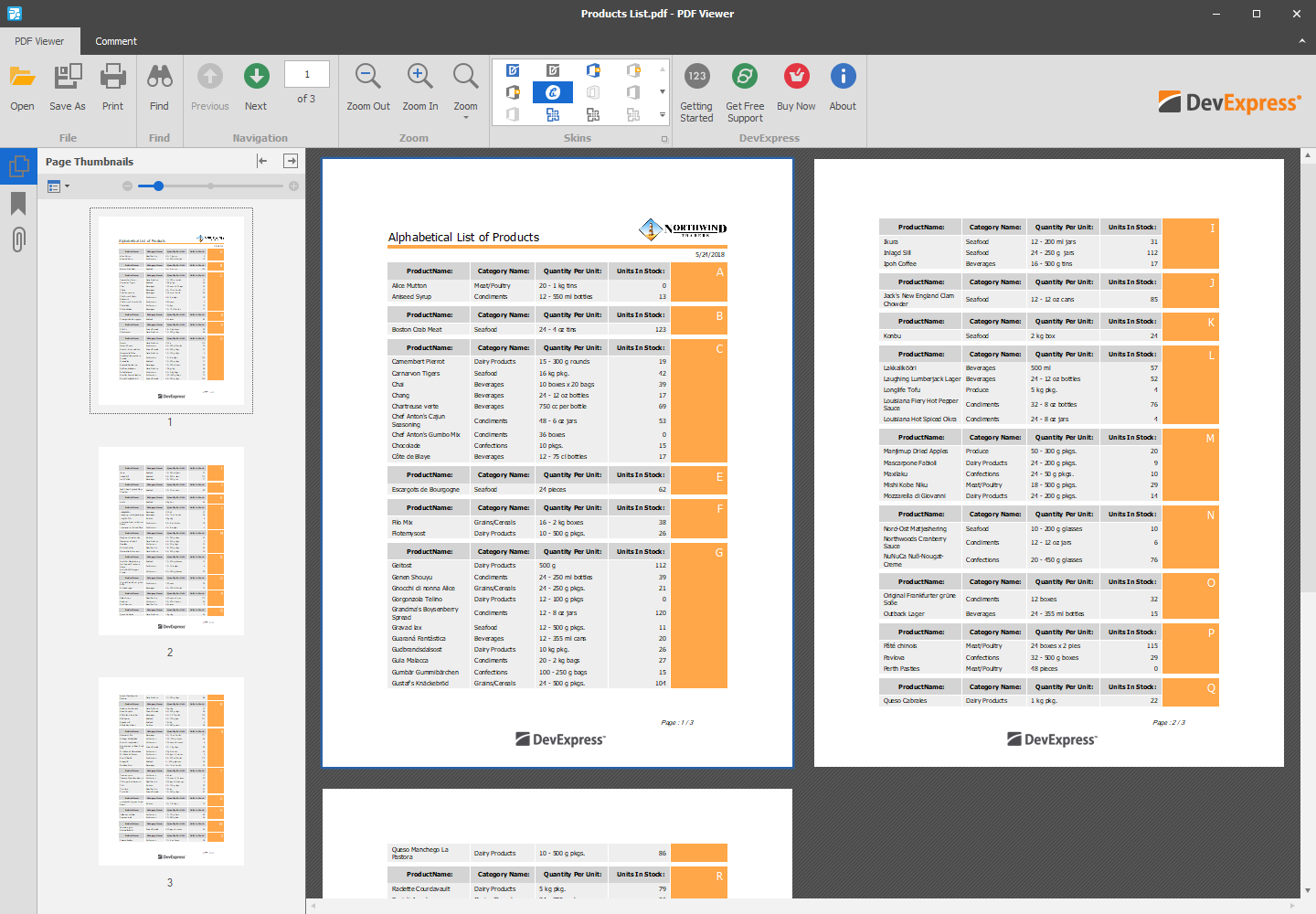 WinForms PDF Viewer - Product List
