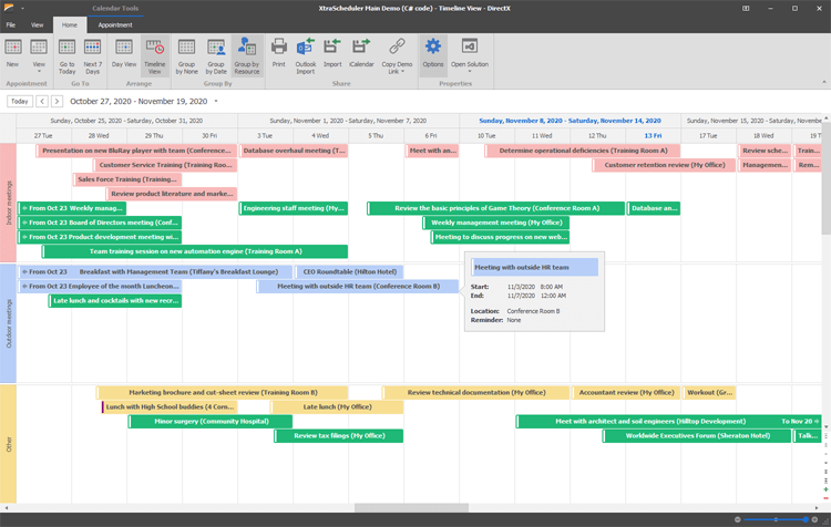Agenda and Timeline Views - WinForms Scheduler Control | DevExpress