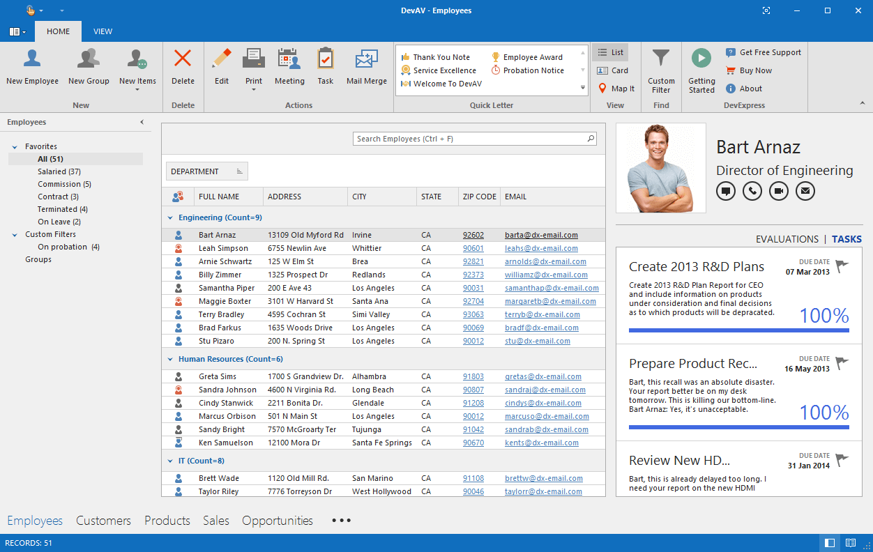 WinForms Controls in an Outlook-Inspired Desktop Application