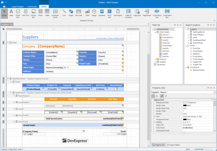 WinForms End-User Report Designer | DevExpress