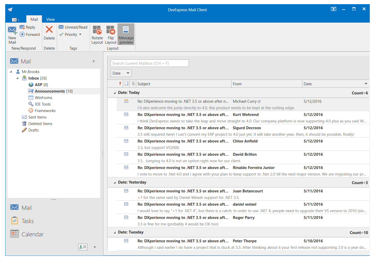 Mail Client App with the DevExpress WPF NavBar Control