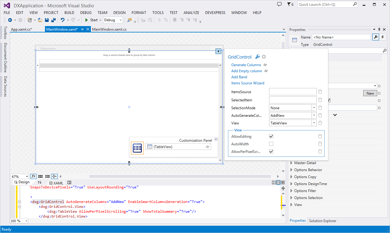 Smart Tags for DevExpress WPF Controls