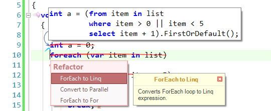 New in CodeRush - ForEach To Linq Refactoring