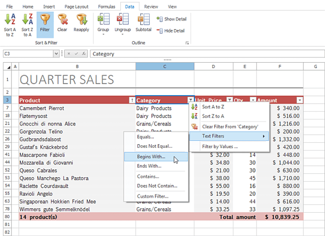 DevExpress WinForms Spreadsheet Control - MS Excel Inspired AutoFilter
