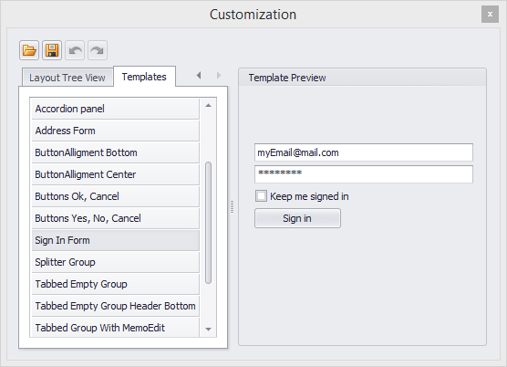 DevExpress WinForms Layout Control - Templates