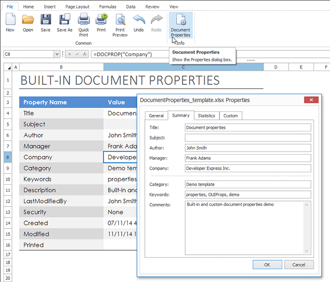 DevExpress WinForms Spreadsheet Control - Document Properties