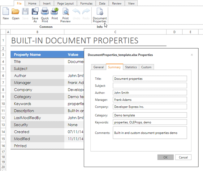 DevExpress WPF Spreadsheet Control - Document Properties