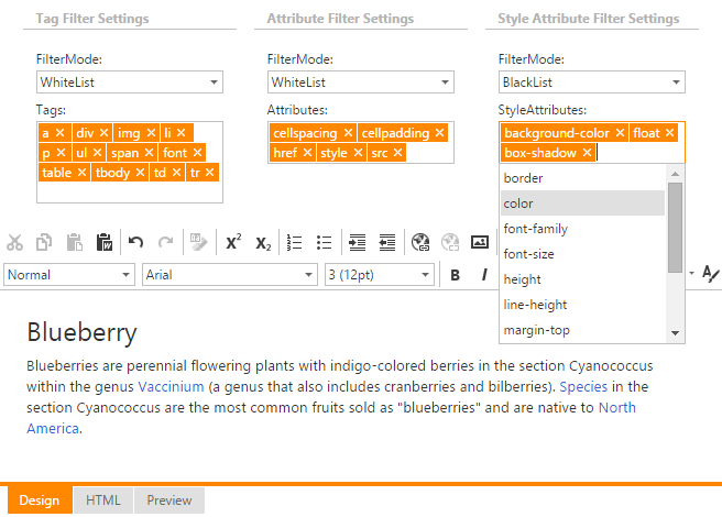 DevExpress ASP.NET HTML Editor - Tag and Style Filtering