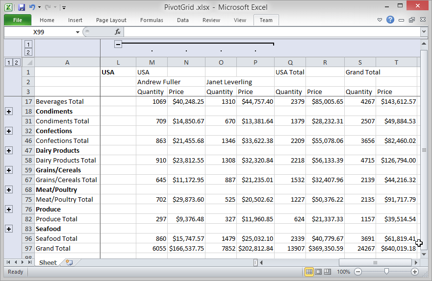 DevExpress ASP.NET Pivot Grid - Excel Data Export Engine