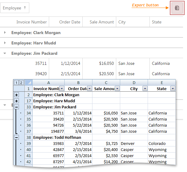 DevExpress DevExtreme Grid - Excel Export