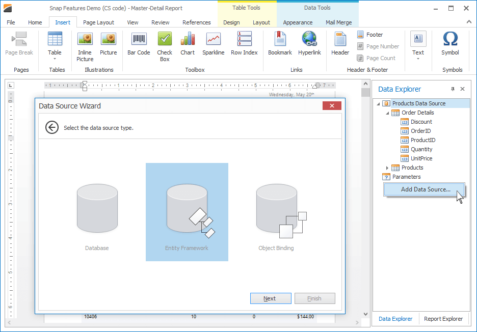 DevExpress WinForms Snap - Data Source Wizard