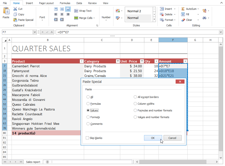 DevExpress WinForms Spreadsheet - Cut, Copy and Paste Operations