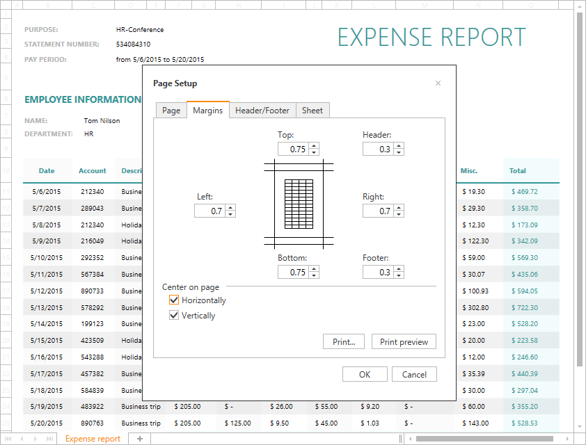 DevExpress WinForms Spreadsheet - Page Setup Dialog