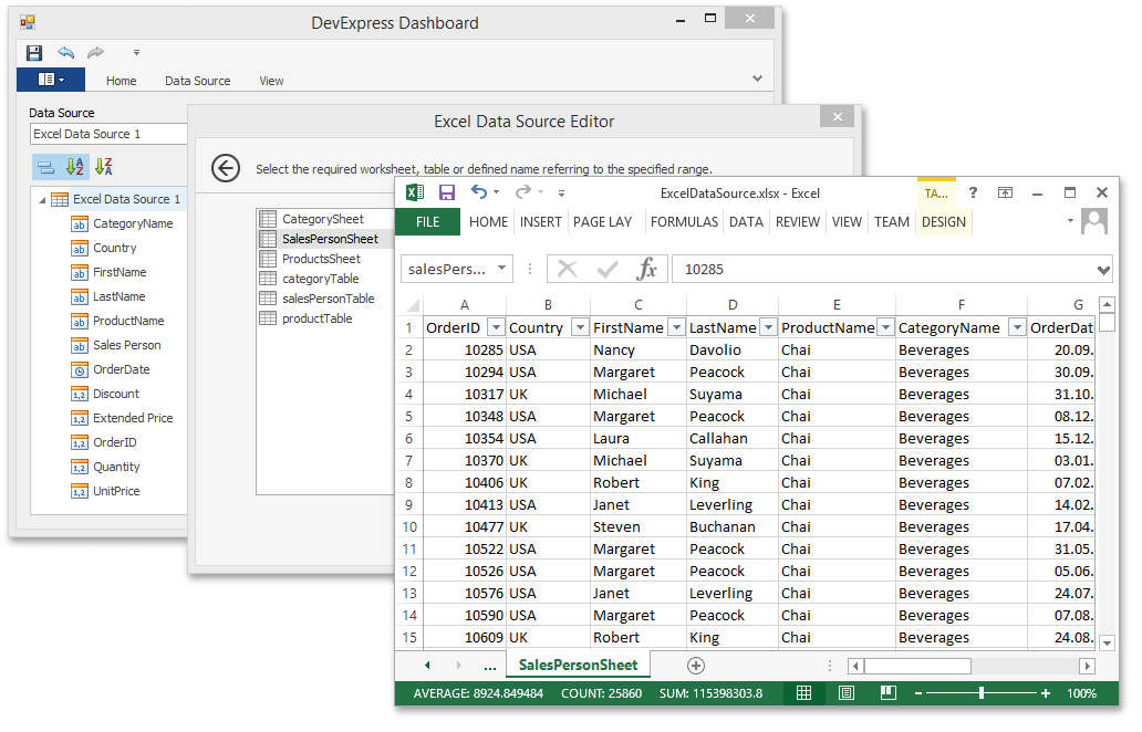 DevExpress Dashboard - Excel Data Source