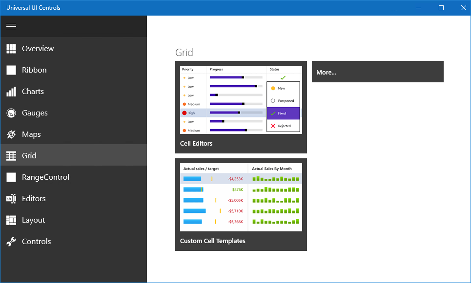DevExpress Windows 10 Apps - Hamburger Menu Control