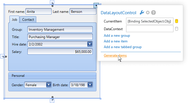 WPF Data Layout Control | DevExpress