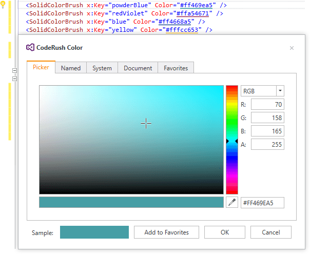 CodeRush for Roslyn - Show Color