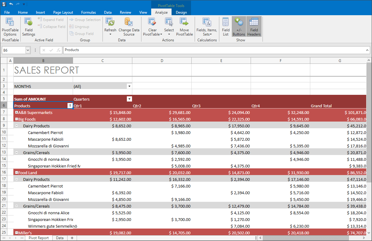 WPF Spreadsheet Control - Pivot Table Enhancements