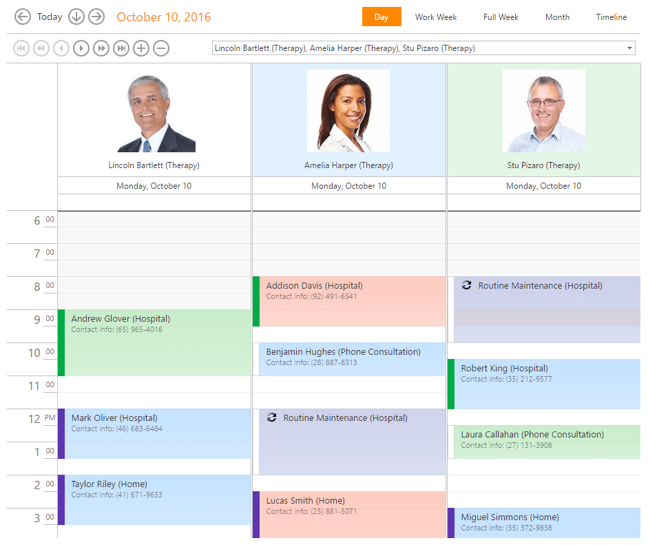 Updated color scheme for appointment resources - ASP.NET Scheduler | DevExpress