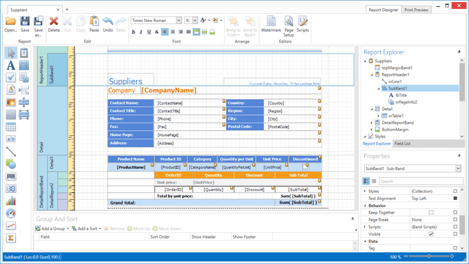 DevExpress WPF Report Designer - SubBands
