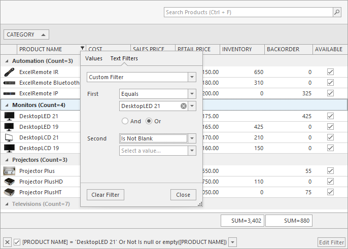 Custom Filter - Excel Inspired Filtering