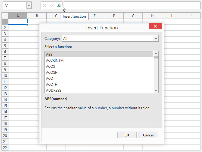 Insert Formular - WPF Spreadsheet Control | DevExpress