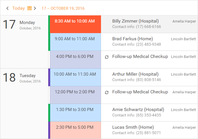 ASP.NET Scheduler Control - Agenda View | DevExpress