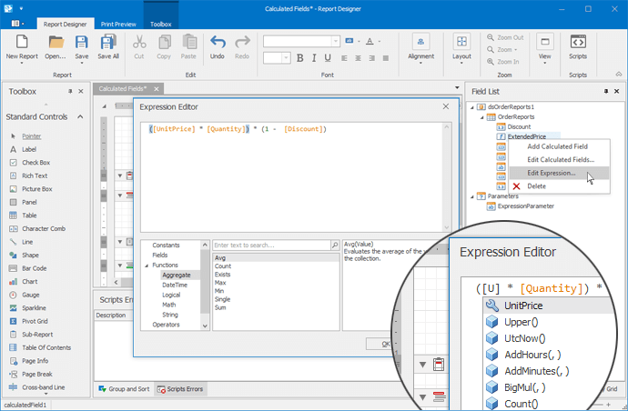 .NET Reporting for WinForms - New Expression Editor | DevExpress