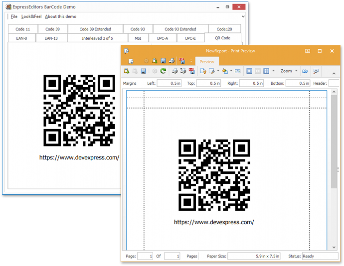 Barcode Control Report Link - VCL Printing-Exporting Library | DevExpress