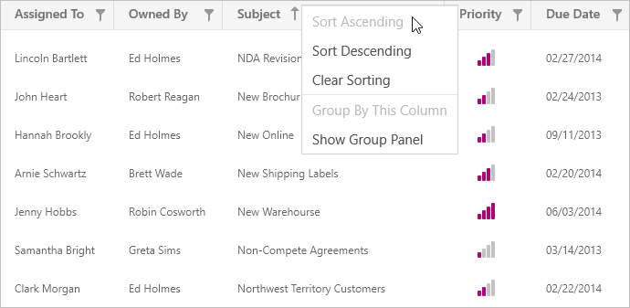 Context Menu - UWP Grid Control | DevExpress