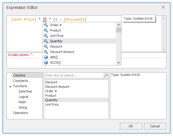 Intellisense Editor for Unbound Column Expressions - WinForms Data Grid | DevExpress