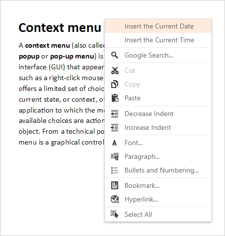 ASP.NET Rich Editor - Context Menu Customization | DevExpress