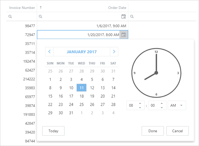 HTML5 Data Grid - DateTime Support | DevExpress