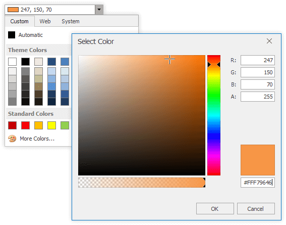 DevExpress Data Editors - Color Picker Dialog