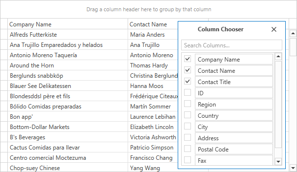 WPF Grid - Column Chooser Enhancements | DevExpress