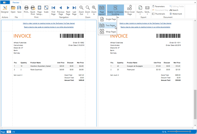 .NET Reporting for WPF - Multi-Page View Mode and Page-by-Page Scrolling | DevExpress