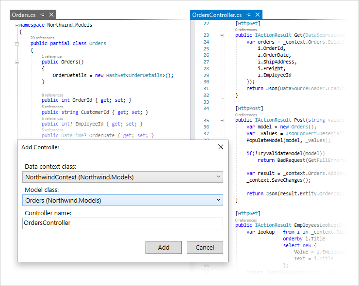 CRUD API Scaffolding for Visual Studio | DevExpress