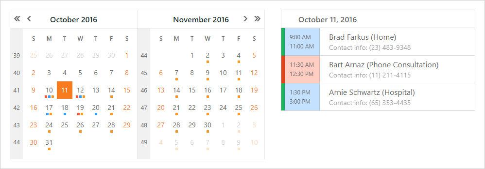 ASP.NET Web Forms and MVC Scheduler - Date Highlighting | DevExpress