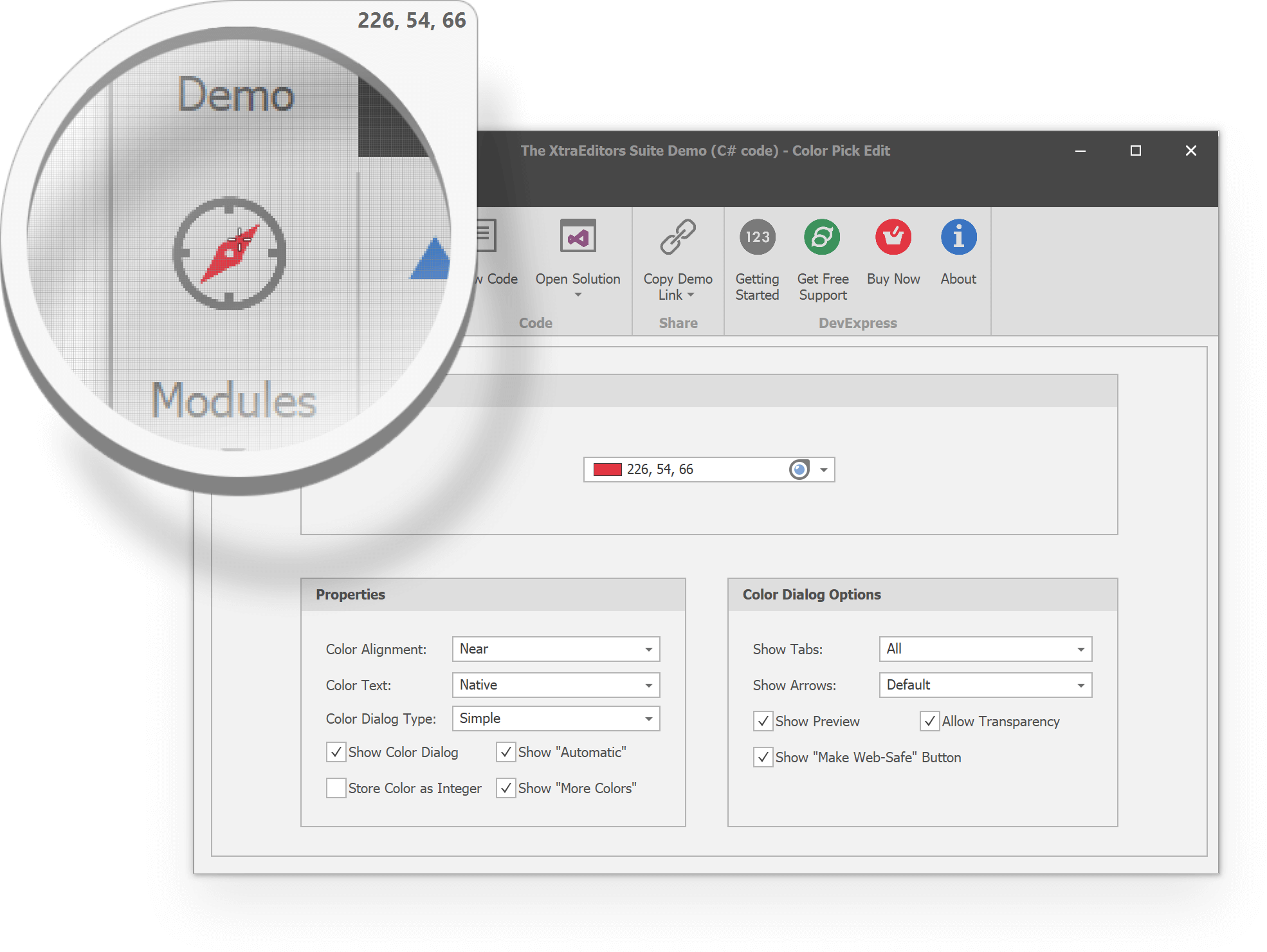 Color Pick Editors - Magnifier Dialog | DevExpress