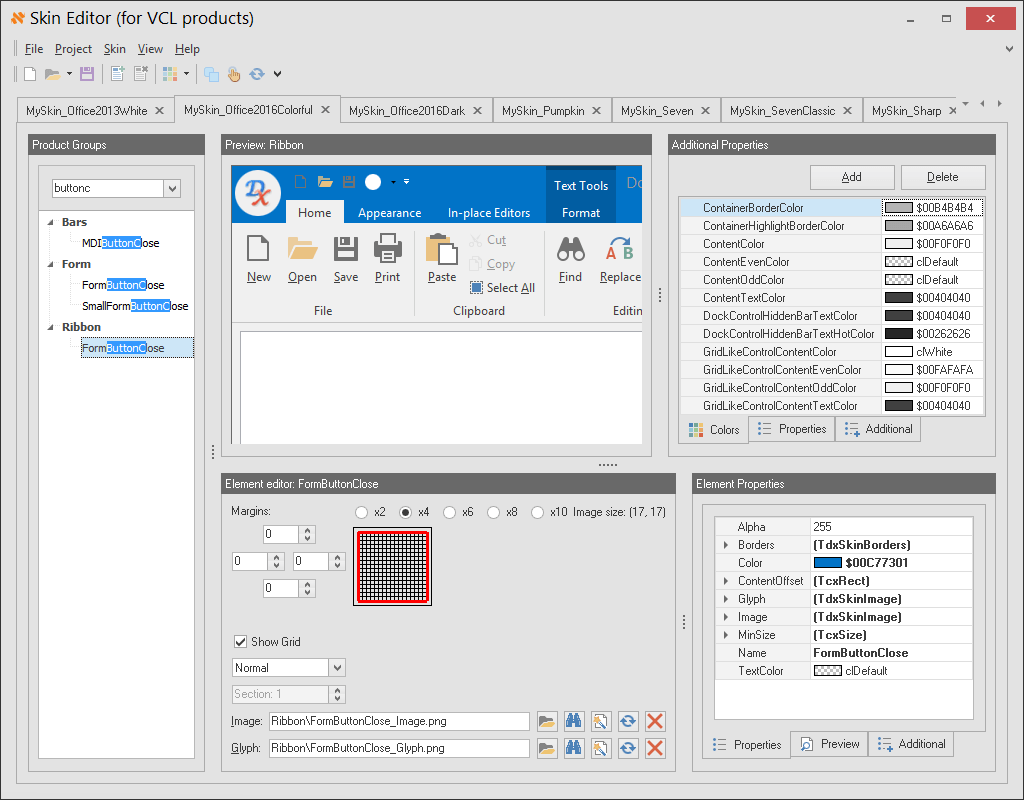 DevExpress VCL Skin Editor